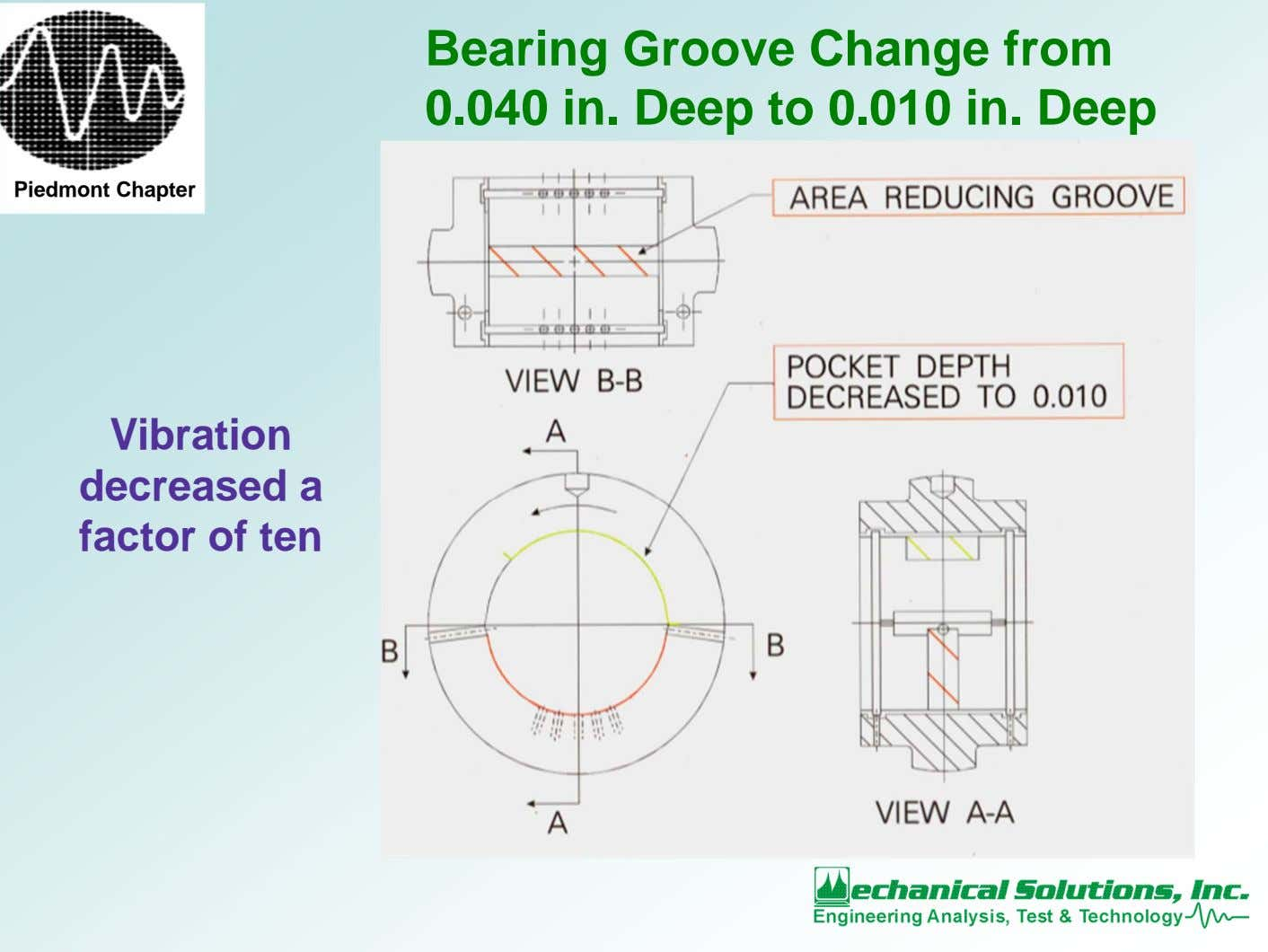 Bearing Groove Change from 0.040 in. Deep to 0.010 in. Deep Piedmont Chapter Vibration decreased