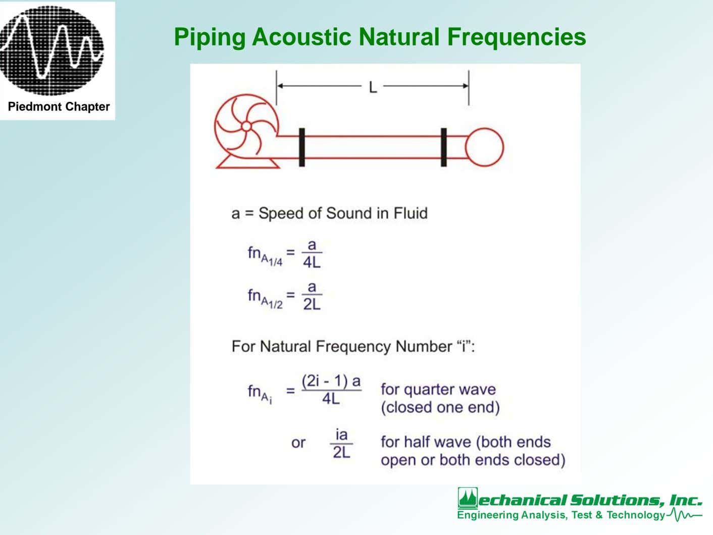 Piping Acoustic Natural Frequencies Piedmont Chapter