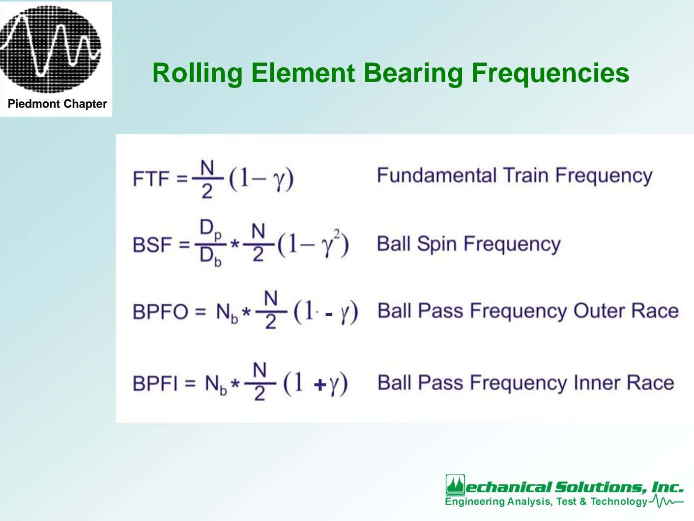 Rolling Element Bearing Frequencies Piedmont Chapter - +