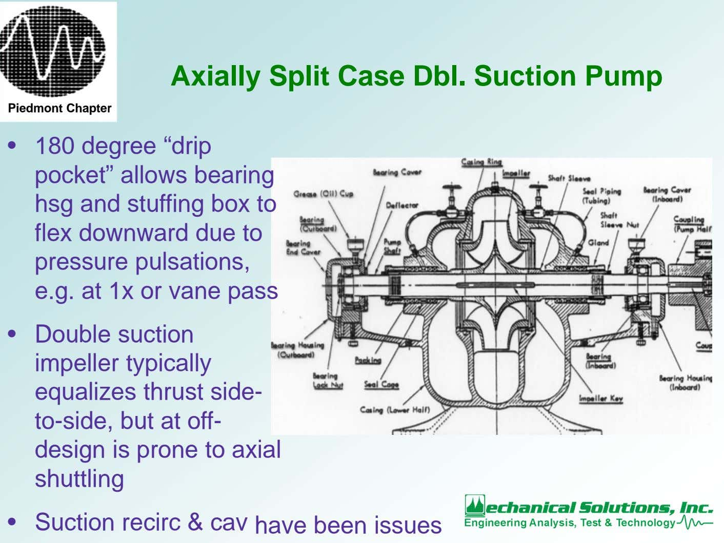"Axially Split Case Dbl. Suction Pump Piedmont Chapter • 180 degree ""drip pocket"" allows bearing"