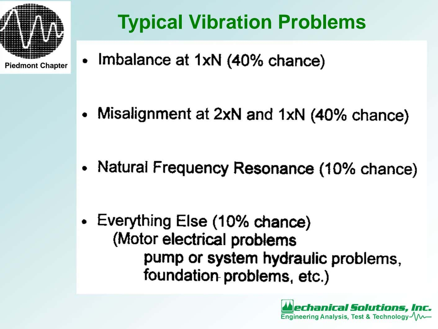 Typical Vibration Problems Piedmont Chapter