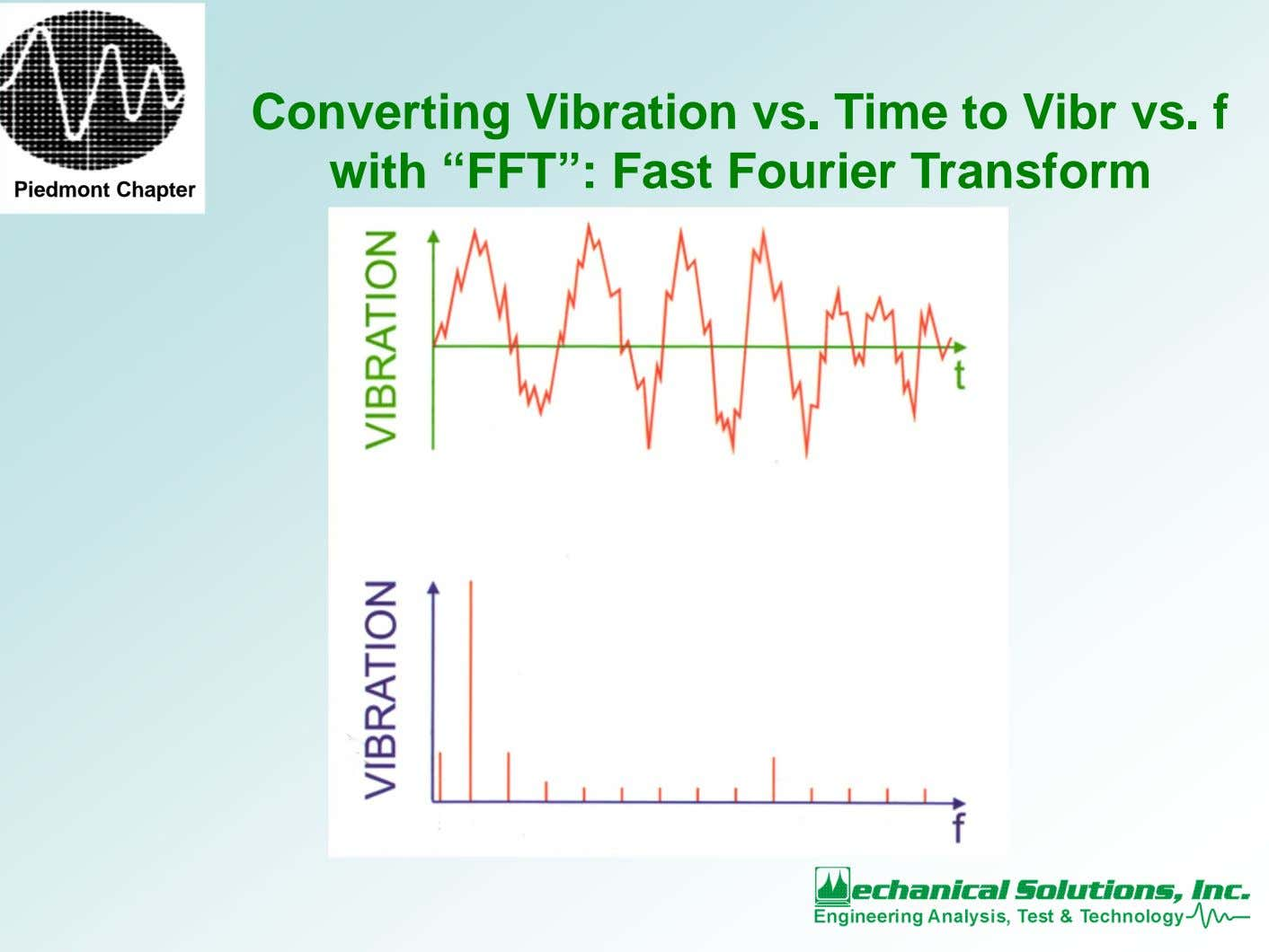 "Converting Vibration vs. Time to Vibr vs. f with ""FFT"": Fast Fourier Transform Piedmont Chapter"