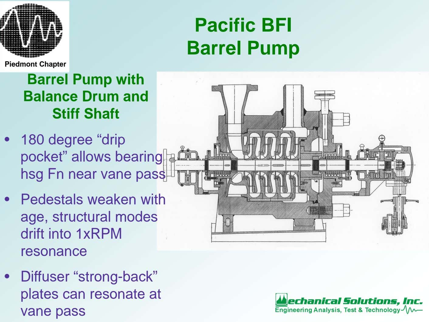 Pacific BFI Barrel Pump Piedmont Chapter Barrel Pump with Balance Drum and Stiff Shaft •