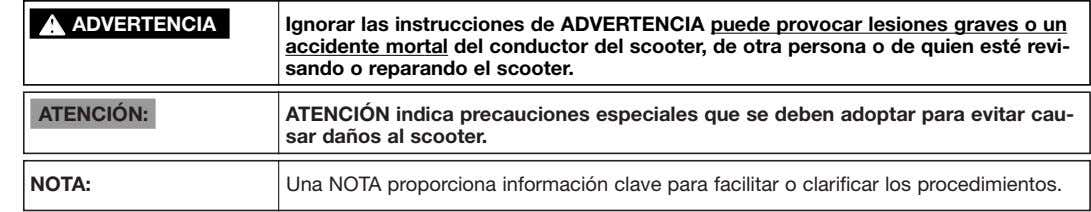 ss ADVERTENCIA Ignorar las instrucciones de ADVERTENCIA puede provocar lesiones graves o un accidente mortal