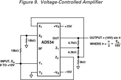 Figure 9. Voltage-Controlled Amplifier X +V S +15V 1 X 2 OUTPUT = (10V) sin