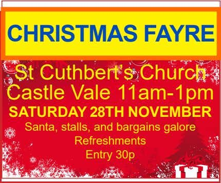 CHRISTMAS FAYRE St Cuthbert's Church Castle Vale 11am-1pm SATURDAY 28TH NOVEMBER Santa, stalls, and bargains
