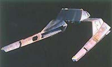 Vulcan Courier ship seen in ST:TMP (warp shuttle w/sled) Vulcan Warp Shuttle. A small, warp-capable vessel