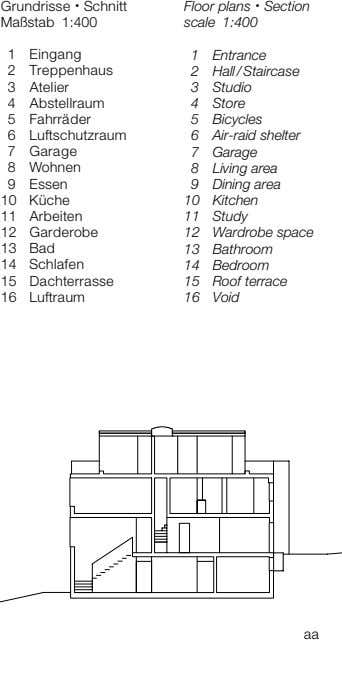 Grundrisse • Schnitt Maßstab 1:400 Floor plans • Section scale 1:400 1 Eingang 1 Entrance