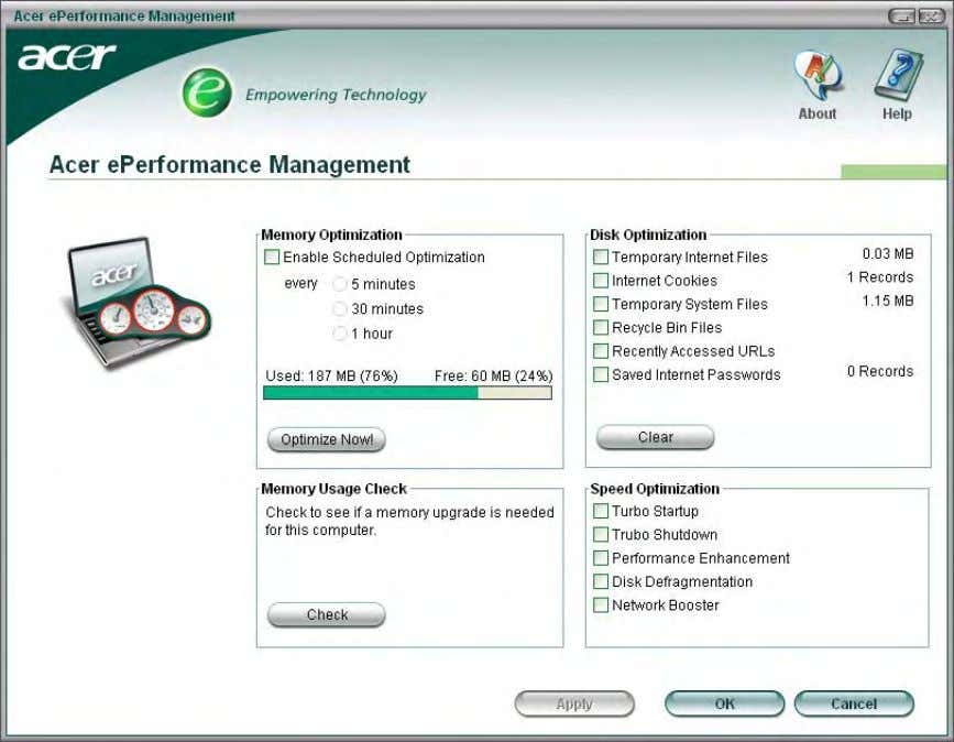 Acer eRecovery Management Acer eRecovery Management is a powerful utility that does away with the