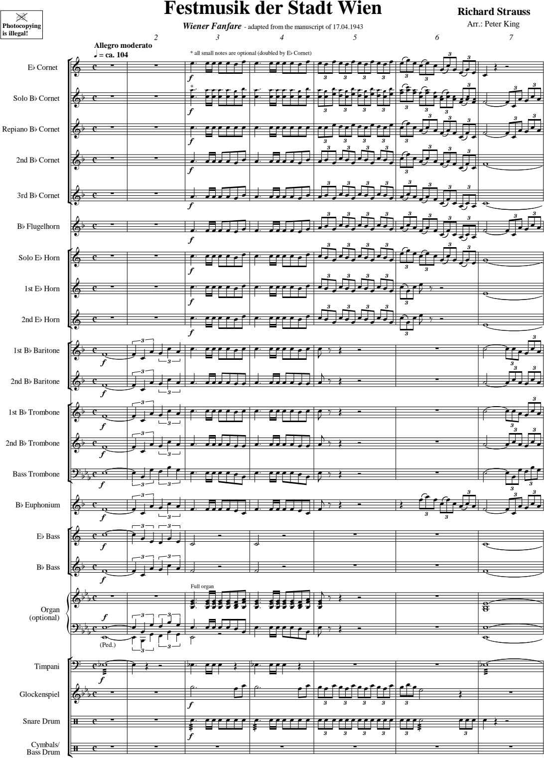 Festmusik der Stadt Wien Richard Strauss | Arr.: Peter King Photocopying Wiener Fanfare - adapted