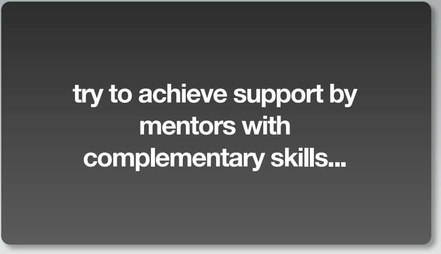 try to achieve support by mentors with complementary skills