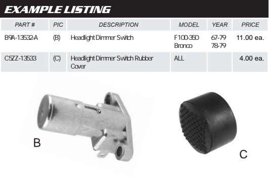 EXAMPLE LISTING PART # PIC DESCRIPTION MODEL YEAR PRICE B9A-13532-A (B) Headlight Dimmer Switch F100-350 67-79