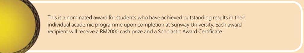 This is a nominated award for students who have achieved outstanding results in their individual