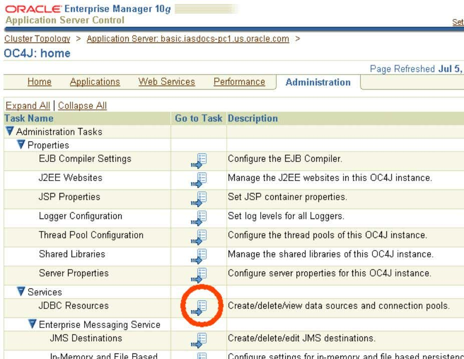 Server Figure 2–1 Click the Icon for JDBC Resources 5 . In the JDBC Resources page,