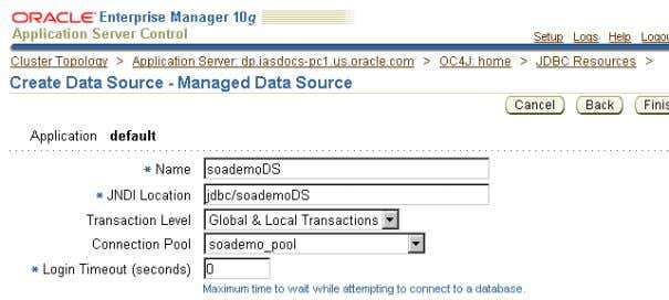 at their default values. Figure 2–5 Create Data Source - Managed Data Source Page Setting Up