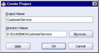 3–2 Create Project Dialog for the CustomerService Project Click OK . In the Application Navigator, you