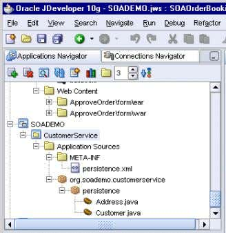 3–10 Application Navigator Showing the Created Files 3.4 Edit persistence.xml In