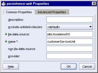 . Figure 3–12 persistence-unit Properties Dialog 6. Click OK . The persistence.xml file in the