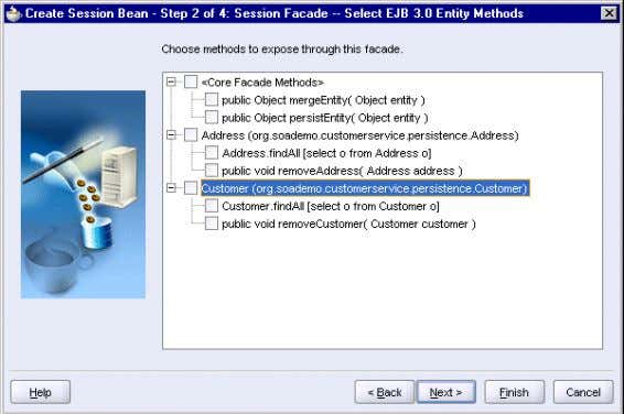 Step 2, Session Facade - Select EJB 3.0 Entity Methods Click Next . 5. In Step