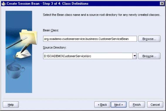 3–16 Create Session Bean Wizard: Step 3, Class Definitions Click Next . 6. In Step 4,