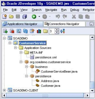 business Directory Application Navigator Showing the CustomerService Session Bean in the 3-12 Oracle SOA Suite Tutorial