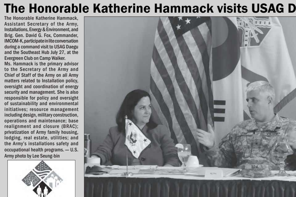 The Honorable Katherine Hammack, Assistant Secretar y of the Army, Installations, Energy & Environment, and Brig.