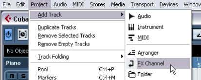 "Channel"" no submenu ""Add Track"" do menu ""Project."" 2. Indique ""Stereo"" em ""Configuration"", indique o"