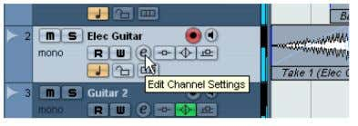 """Edit Channels Settings"" do track ""Elec Guitar."" 5. Indique ""FX 1-StereoDelay"" no menu pop-up ""Select"