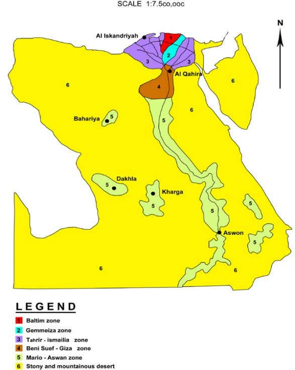 desert and the Nile Valley and Delta and the oases areas. Figure 10. Agro-ecological zones of
