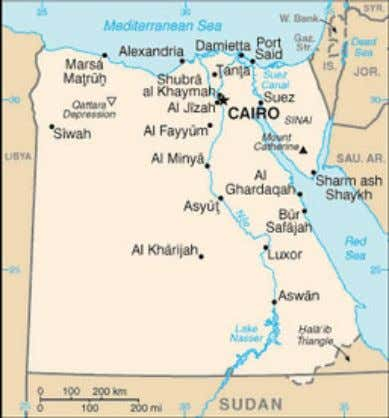 from proper management of water through more effective Figure 1a. Map of Egypt (Source: World Factbook)