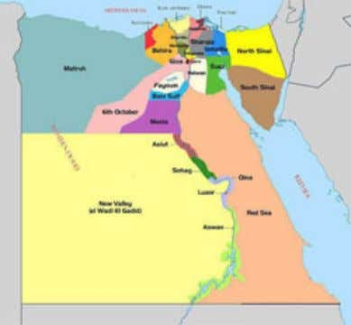[Source: http://en.wikipedia.org/wiki/Geography_of_Egypt ] Figure 1c. Map of Egypt's Administrative