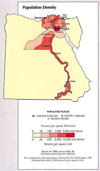 6 Country Pasture/Forage Resource Profile Figure 2. Map of Egypt showing population density (Source: