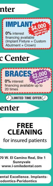 IMPLANT 0% interest financing available (Implant Fixture + Custom Abutment + Crown) BRACES 0% interest