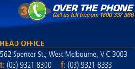 Head Office 562 Spencer St., West Melbourne, VIC 3003 t: (03) 9321 8300 f: (03)