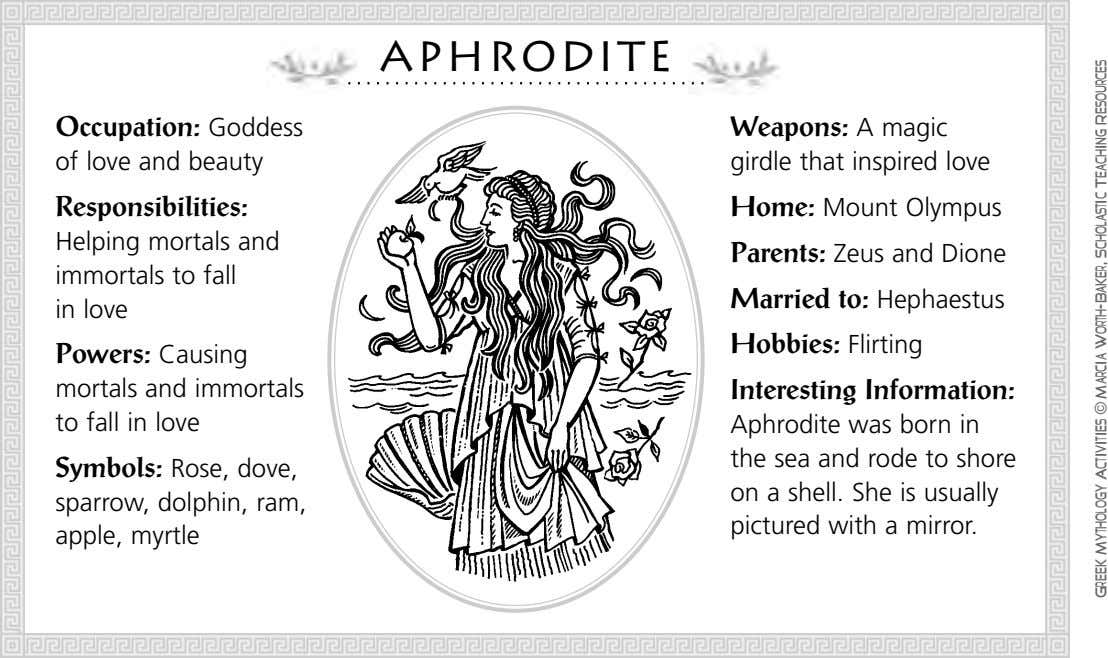Aphrodite Occupation: Goddess Weapons: A magic of love and beauty girdle that inspired love Responsibilities: