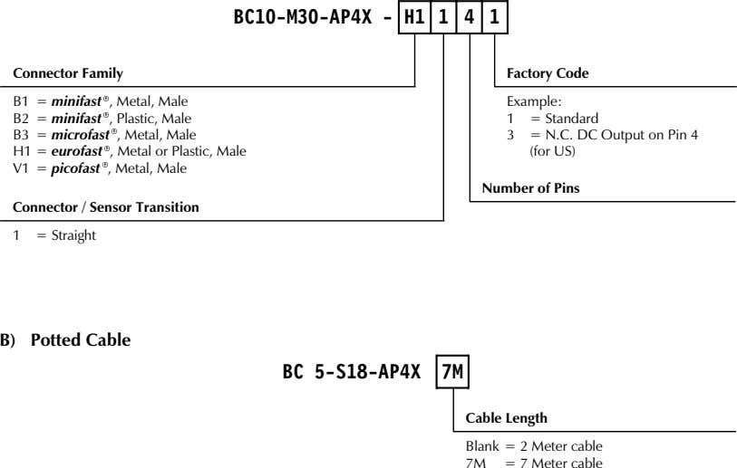 BC10-M30-AP4X - H1 1 4 1 Connector Family Factory Code B1 = minifast , Metal,
