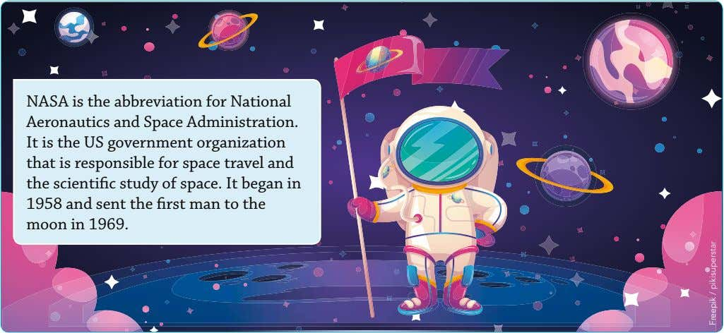 NASA is the abbreviation for National Aeronautics and Space Administration. It is the US government