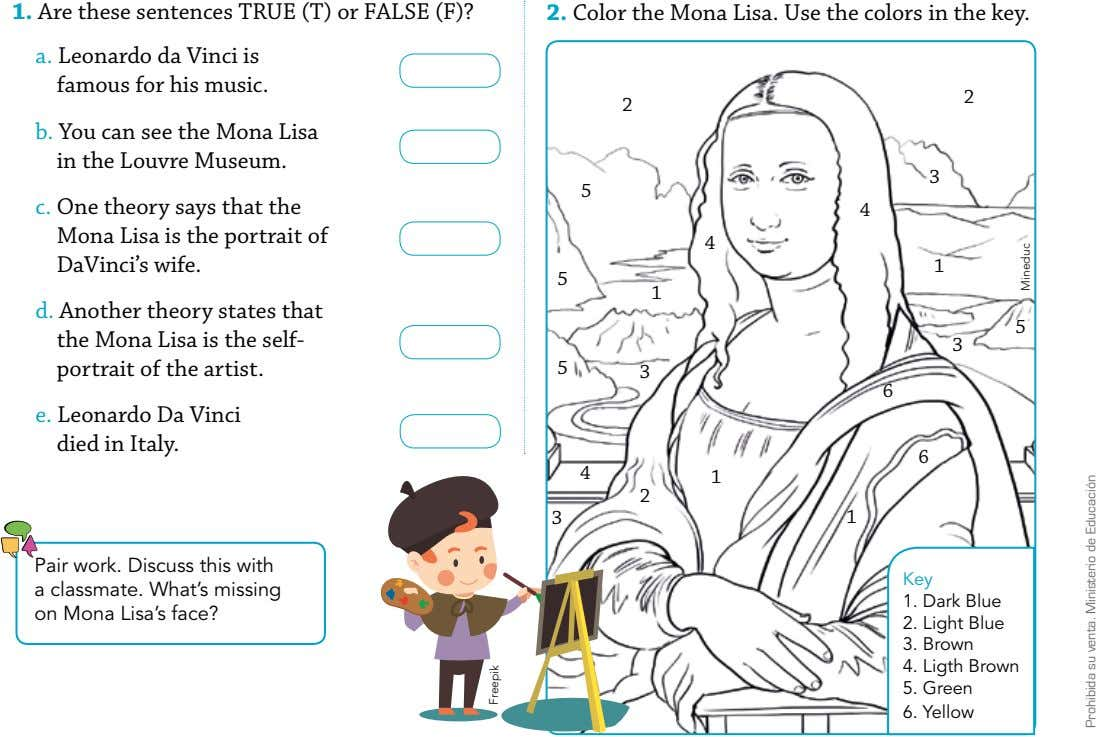 1. Are these sentences TRUE (T) or FALSE (F)? 2. Color the Mona Lisa. Use