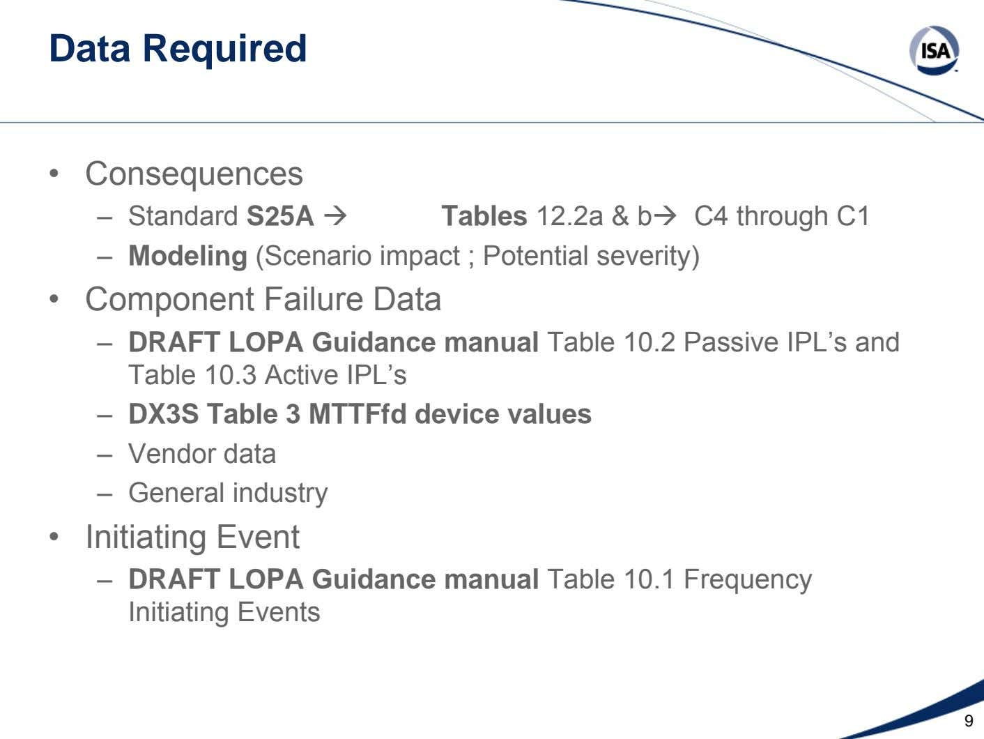 Data Required • Consequences – Standard S25A Tables 12.2a & b C4 through C1 – Modeling