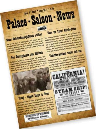 2016 * Issue No 1 * 5 Ct April, 9 th Palace *Saloon *News Taste