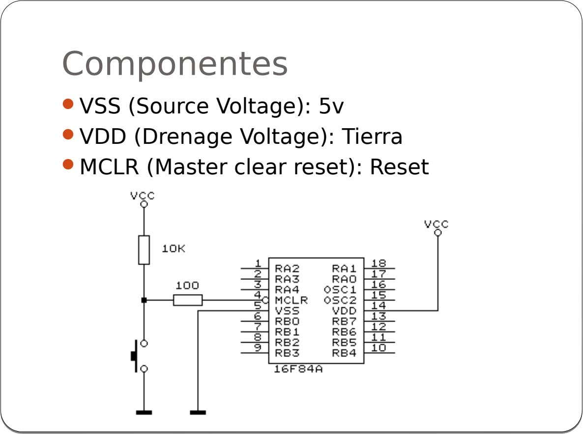 Componentes  VSS (Source Voltage): 5v  VDD (Drenage Voltage): Tierra  MCLR (Master clear reset):