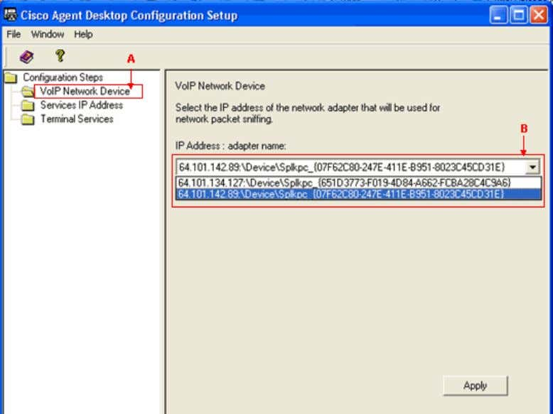 Agent Desktop Configuration Setup − VoIP Network Device 7. Click Apply , and shutdown the window.