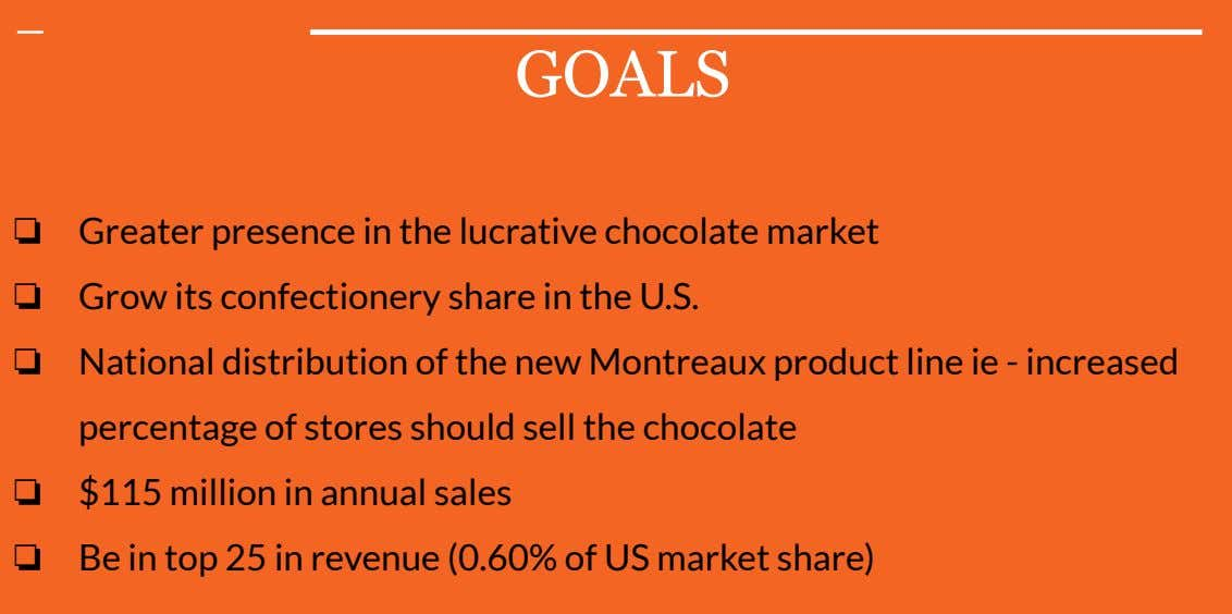 GOALS ❏ Greater presence in the lucrative chocolate market ❏ Grow its confectionery share in
