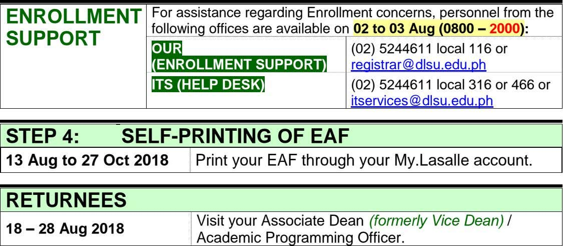 ENROLLMENT For assistance regarding Enrollment concerns, personnel from the following offices are available on 02