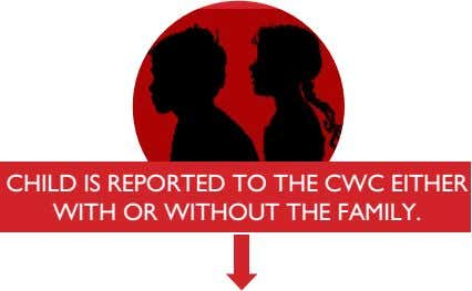 CHILD IS REPORTED TO THE CWC EITHER WITH OR WITHOUT THE FAMILY.