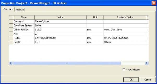 – Object Properties Commands (dimensions and history) Attributes (properties of the object) ANSYS Maxwell Field