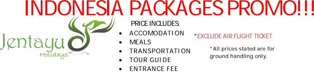 INDONESIA PACKAGES PRO MO!!! PRICE INCLUDES:  ACCOMODATION *EXCLUDE AIR FLIGHT T ICKET  MEALS