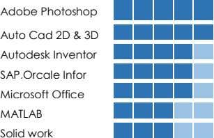 Adobe Photoshop Auto Cad 2D & 3D Autodesk Inventor SAP,Orcale Infor Microsoft Office MATLAB Solid
