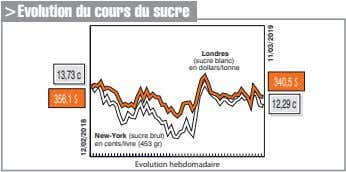 >Evolution du cours du sucre Londres (sucre blanc) en dollars/tonne 13,73c 340,5$ 356,1$ 12,29c New-York