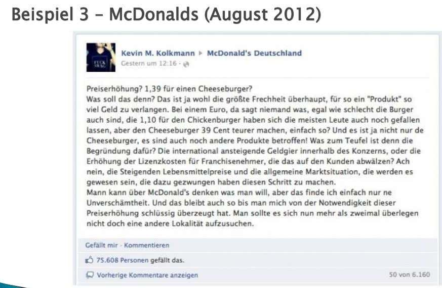 Beispiel 3 – McDonalds (August 2012)
